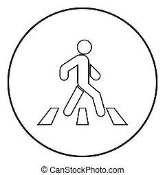 Pedestrian on zebra crossing icon black color vector illustration simple image