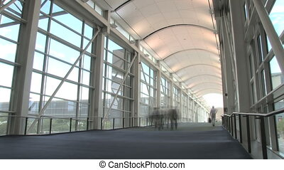 Pedestrian Overpass - Time lapse, people walking down long...