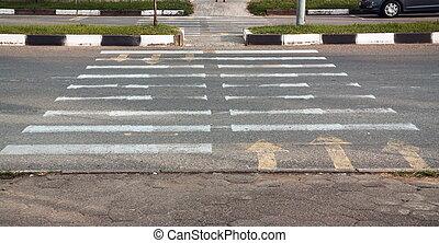 Pedestrian path walk painted on road
