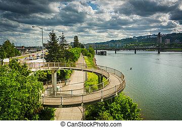 Pedestrian ramp to the Morrison Bridge, in Portland, Oregon.
