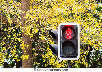 Pedestrian red light against yellow leaves in autumn