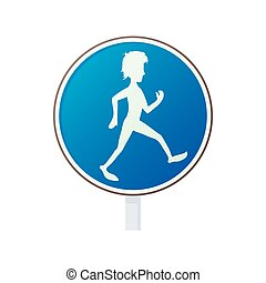 Pedestrian road sign icon, cartoon style