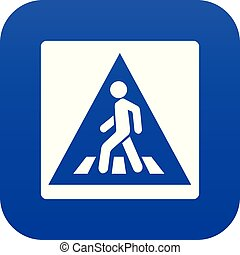 Pedestrian road sign icon digital blue