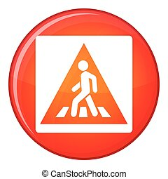 Pedestrian road sign icon, flat style