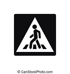 Pedestrian road sign icon, simple style