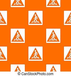 Pedestrian road sign pattern seamless