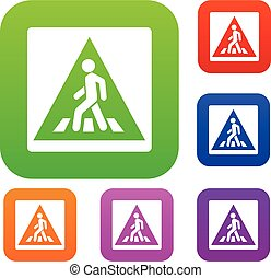 Pedestrian road sign set collection
