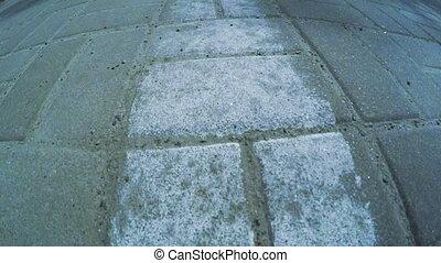 Pedestrian sidewalk - Camera on steadicam on Pedestrian...