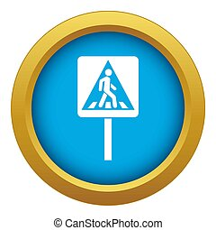 Pedestrian sign icon blue isolated