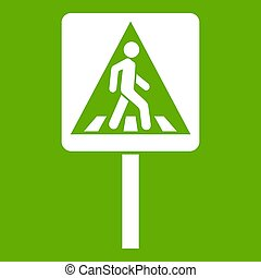 Pedestrian sign icon green
