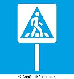 Pedestrian sign icon white