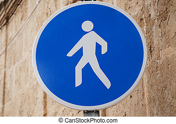 Pedestrian Sign in Urban Setting