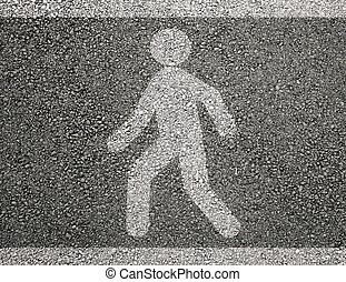 Pedestrian sign on asphalt