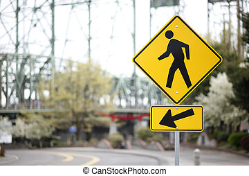 Pedestrian sign on the road.