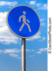 pedestrian sign - pedestrian zone sign against blue sky with...