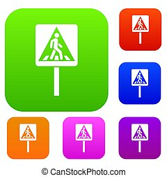 Pedestrian sign set collection