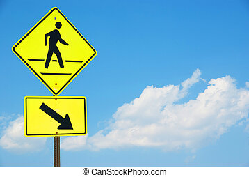 Pedestrian sign with a person walking on yellow with a blue ...