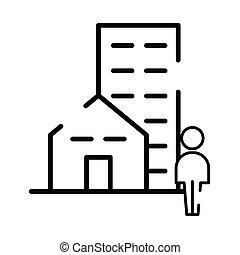 pedestrian silhouette walking with buildings