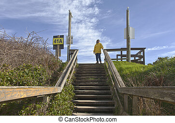 Pedestrian stairway to the beach.