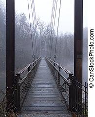 Pedestrian suspension bridge over river