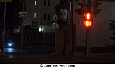 Pedestrian traffic light turns green. Crosswalk at night. 4K shot