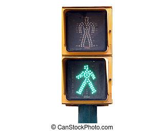 Pedestrian traffic lights green light