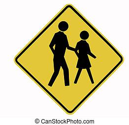 Pedestrian Traffic Sign, Black On Yellow