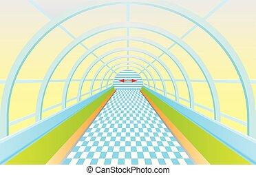 Pedestrian tunnel. Entrance into a long tunnel. Symmetric...