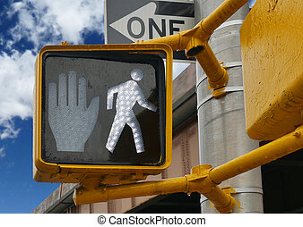 Pedestrian walking sign traffic light