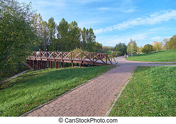 Pedestrian walkway and wooden bridge in the park in autumn