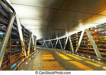 Pedestrian walkway at night