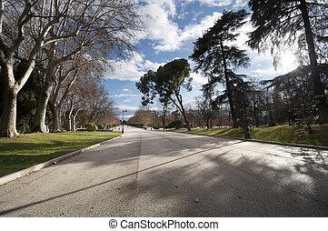 Pedestrian walkway at Retiro Park, Madrid, Spain