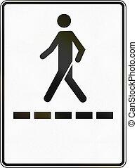 Regulatory road sign in Quebec, Canada - Pedestrian walkway.