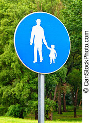 Pedestrian walkway road sign. Illustration of old man holding little girl by the hand.