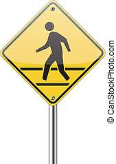 pedestrian yellow traffic sign