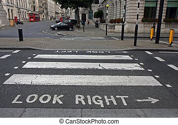 Pedestrian zebra crossing in London - Warning at crossroad...