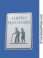 pedestrians, предупреждение, пожилой