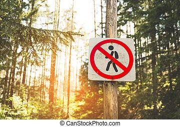 pedestrians., 印, 禁止, ラウンド, 道, 動き