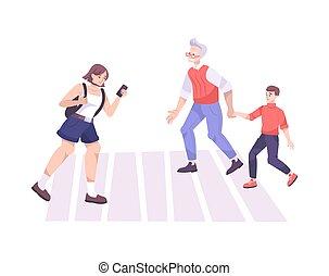 Pedestrians Crossing Street Composition