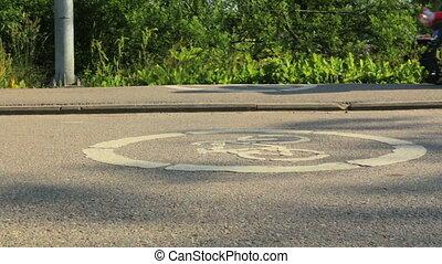pedestrians, dróżka, rower, bruk