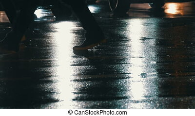 Pedestrians feet crossing street at night and rain with lens...