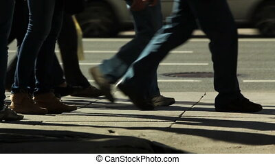 Pedestrians on a sidewalk