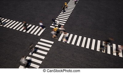 Pedestrians on crosswalk perspective view footage. ...