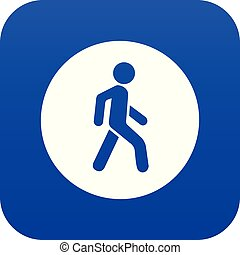 Pedestrians only road sign icon digital blue