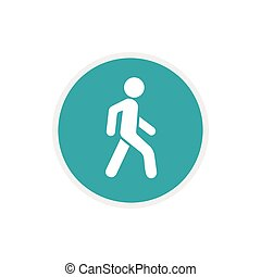 Pedestrians only road sign icon, flat style