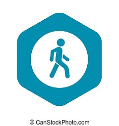 Pedestrians only road sign icon, simple style