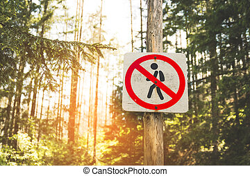 pedestrians., sinal, proibir, redondo, estrada, movimento