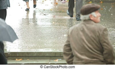 Pedestrians under rain on a city street