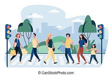 Pedestrians walking across street