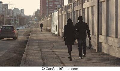 Pedestrians walking on the Street Russian city